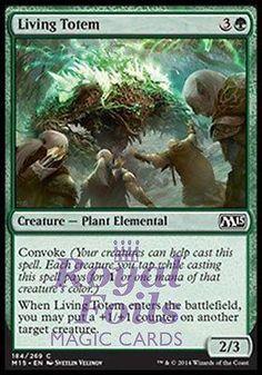 **4x FOIL Living Totem** MTG M15 Core Set Common MINT green plant elemental