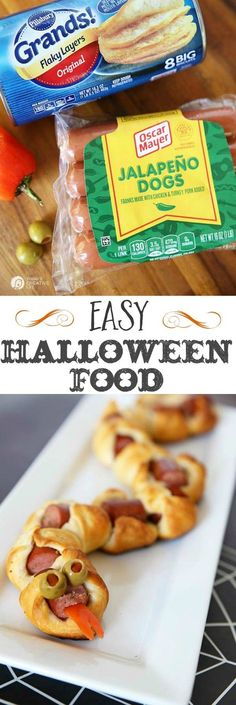 Rattlesnake Bite Hot Dog Appetizers | Easy Halloween Food ideas and appetizers on http://TodaysCreativeLife.com