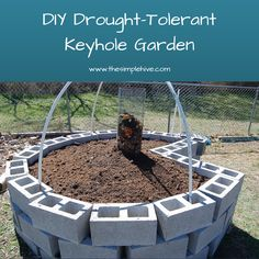 build your own drought-tolerant keyhole garden--REBAR THROUGH BLOCKS: PVC ON REBAR--USE FOR ROW COVER