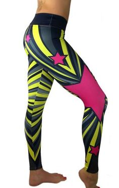 S2 Activewear - Wonder Woman Pink Star Leggings - Roni Taylor Fit  - 2