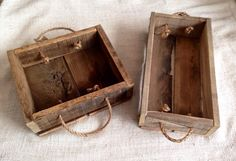Reclaimed pallet wood box with rope handles. #seacity