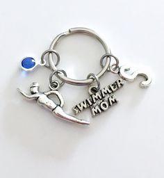 Personalized Hockey Mom Keychain Hockey Mom Keyring Silver