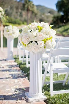 Photographer: Nicolette Moku Photography; Breathtaking white outdoor wedding ceremony;