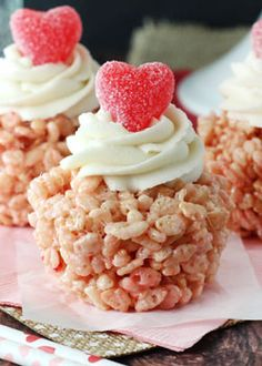 Valentines Day Rice Krispie Treat Cupcakes (These Valentine's Day Rice Krispie Treat Cupcakes are super cute to share for Valentine's Day! They are actually flavored with a strawberry cake mix, but you could use any flavor.)  l  Life, Love & Sugar