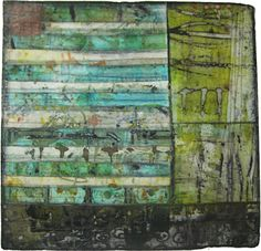 Jennifer Solon | Green Lake - Mixed media collage (textiles, encaustic wax, pigments): 20in. x 20in., 2011