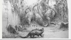 The Stampede Concept Art King Kong Skull Island, Jurassic Park, Creature Design, Prehistoric, Godzilla, Mammals, Amazing Art, Evolution, Concept Art