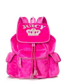 Juicy Couture Royal Iconic Velour backpack, hot pink