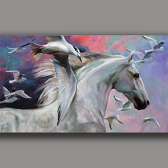 Breeze-White Horse & Möwen-Original Gemälde-joart-signiert-Unikat - meisterlichen | Art, Paintings | eBay!