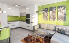 Jelikož je jeho oblíbená barva zelená, navrhli jsme zelený skleněný zádový obklad a zelenou promítli i do zbytku interiéru obývacího pokoje v podobě dekorační stěrky. Jídelní stůl vyrobený na míru jsme navrhli v tmavém dekoru tak, aby ladil k odstínu nových posuvných dveří.