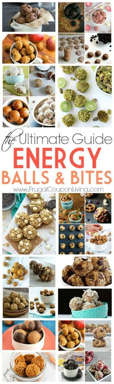 Healthy snack ideas - check out this ultimate list of easy energy balls and bites for the healthy life style. More on Frugal Coupon Living.