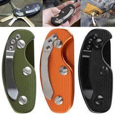 Aluminum Gear Pocket Keychain Key Holder Stainless Steel Folding Clip Key Bar #Unbranded