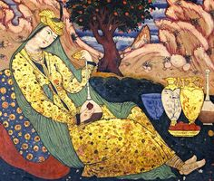 A woman having wine in solitude. A wall painting from Chehel Sotoun pavilion in Isfahan, Iran, 17th century