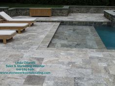 "since you have ""rustic"" pavers, how about a smooth grey/marble/travertine tile around pool. Pool Pavers, Pool Tiles, Paver Sand, Paver Stones, Travertine Pavers, Granite Paving, Bluestone Pavers, Wooden Patios, Pool Remodel"