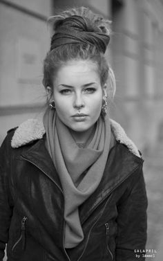 i love Anna April. leather bomber/moto + drape-y scarf + top knot = perfection.