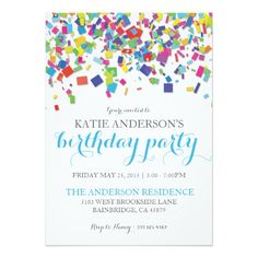 "Rainbow Confetti | Birthday Party Invitation 5"" X 7"" Invitation Card"