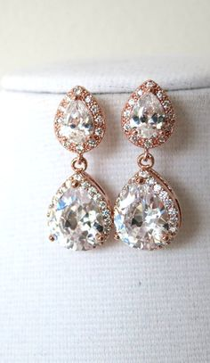 Rose Gold Teardrop Luxe Cubic Zirconia Teardrop Earring - gifts for her, earrings, bridal gifts, drop, dangle, pink gold weddings, www.colormemissy.com, by ColorMeMissy