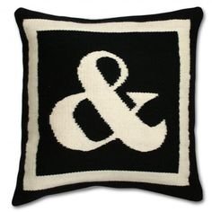 "The other side is also100% hand loomed wool/16"" x 16"" with its colors reversed and it has feather/down insert. #Jonathan Adler #pillows"