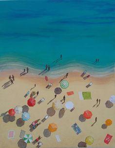 Aerial Beach View Original Painting, Ibiza Beach, People on the Beach, Sunny Beach Scene, Summer Day Out Painting, Spanish Beach