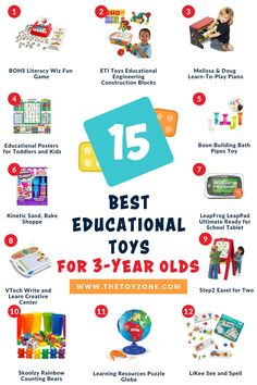We have created a thoughtful list of some of the most top-selling educational toys for 3-year-olds. These toys are great for boys and girls alike and they teach a variety of skills. Some focus on school-work and teach ABCs and numbers, while others help with their development such as fine-tuning motor skills and coordination. Check out our top 15 list to learn more. Cool Toys For Boys, Best Kids Toys, Upper And Lowercase Letters, Lower Case Letters, Kids Gardening Set, Tuning Motor, Teaching Abcs, Best Educational Toys, 3 Year Olds