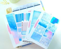 Our Summer Rain will allow you to create a beautiful weekly spread in your planner. Enough to complete a full weekly spread in your planner, with extras! Smoky blues and greys as well as pastels mixed in with some stormy artwork. I remember laughing till we almost cried This set includes five sheets of high-quality kiss cut stickers. Sooo....what do I get? 1) Sampler Sheet including a variety of functional and decorative stickers 2) Sheet of Full Box Checklists 3) Sheet of Decorative Ful...