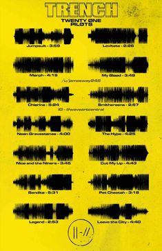 Trench - Waveform Poster : twentyonepilots Twenty One Pilots Poster, Twenty One Pilots Tattoo, Twenty One Pilots Songs, Twenty One Pilots Wallpaper, Pilot Tattoo, Twenty One Pilots Aesthetic, Band Posters, Emo Bands, Staying Alive