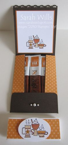 card shaped like a Coffee Travel Cup and a Coffee Folder that pops open to reveal sachets of coffee inside. - bjl