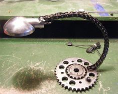 Motorcycle Sprocket and Chain Desk Lamp -Industrial Parts FREE shipping