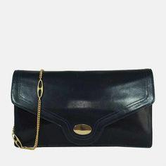 Pochette en cuir bleu marine avec chainette dorée - Boutique de mode vintage & friperie en ligne - DeeDee Vintage