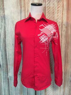 Motto DBA Clone Red Shirt Blouse Red White Graphic Button Stretch LS sz XS  EUC! #Motto #ButtonDownShirt
