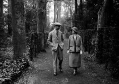 Queen Elizabeth (the Queen Mother) and the Duke of York while on their honeymoon at Polesden Lacey in May 1923.