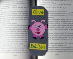 Just Believe Pig Bookmark, Piggie Bookmark, Cute Pig Bookmark, Christmas Gifts, Book Lovers Gifts, Inspirational Gifts, Stocking Stuffers by DivinitysDivineTouch on Etsy