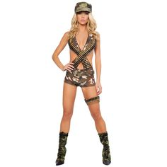 Military Babe Adult Costume for Halloween.