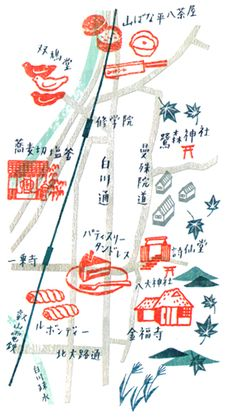 Map again. Maybe its time to title myself a map maker anyway, its in Croissant magazine. I have drawn small maps of three different areas in Kyoto, showing hidden, beautiful streets to stroll (Above is one example). Super quick work, but I enjoyed paint and brushes, simple colours, and Japanese lettering.