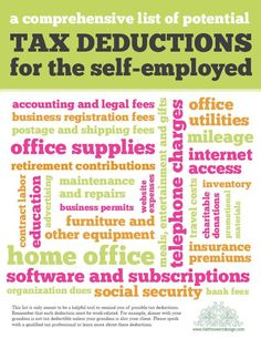 Tax Deductions: Good list of ideas! Fixing up my office and using paint on my deduction list!! Nice graphic without a web connection so put my link to the page on writing a marketing plan to protect you in an audit. www.DSWA.org