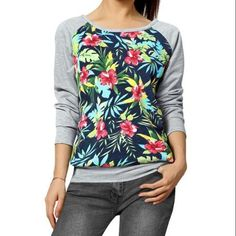 Allegra K Women's Floral Prints Long Raglan Sleeves Color Block Sweatshirt Multicolor (Size L / 12)