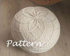 KNITTING PATTERN Knitted Pouf Pattern Poof Knitting Ottoman Footstool Home Decor Pillow Bean Bag, Pouffe, Floor cushion Medium and Large