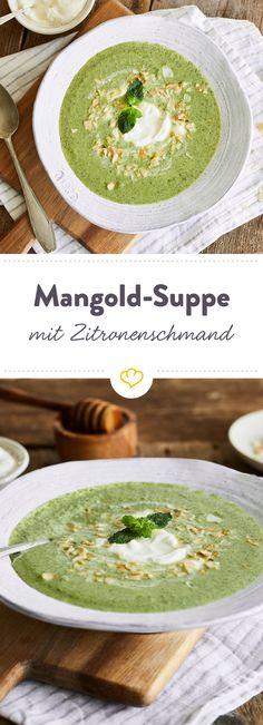 Mit der cremigen Mangold-Suppe kannst du den Sommer genussvoll ausklingen lassen. Ein Hauch Minze und ein Klecks Zitronenschmand sorgen für Frische.
