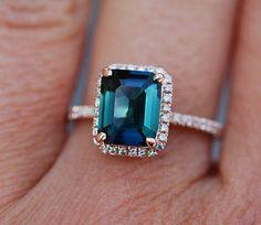 emerald cut blue green sapphire ring diamond ring Rose gold ring by Eidelprecious. by EidelPrecious on Etsy Green Sapphire Engagement Ring, Green Sapphire Ring, Gold Engagement Rings, Wedding Rings, Sapphire Rings, Engagement Bands, Sapphire Jewelry, Diamond Jewellery, White Sapphire