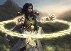 Mago humano conjurando magia de proteção, especialista em abjuração