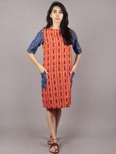 Red Orange Blue Ivory Black Handwoven Ikat Cotton Dress With Side Pockets & Black Slit - Cotton Tunics, Cotton Dresses, Buy Dresses Online, Maxi Gowns, Designer Dresses, Designer Kurtis, Indian Designer Wear, Blue Ivory, Asymmetrical Dress