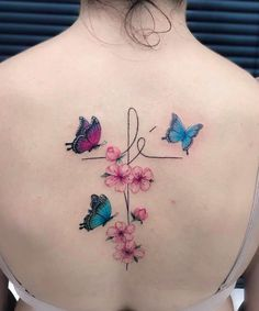 creative girls back tattoo inspiration and meaning - page 33 of Neue Tattoos, Body Art Tattoos, Tatoos, Flower Spine Tattoos, Butterfly Tattoos, Initial Tattoo, Diy Tattoo Permanent, Rainbow Tattoos, Tattoo Hals