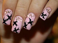 pink with black birds and glitter  nail art
