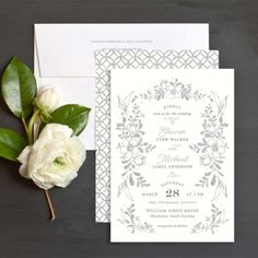 FLORAL SHIMMER WEDDING INVITATION