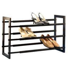 Leave more room to survery your collection with our Walnut 3-Tier Grippy Shoe Rack