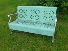 Metal Porch Glider Pie Crust Design Vintage Slider Style Glider Green