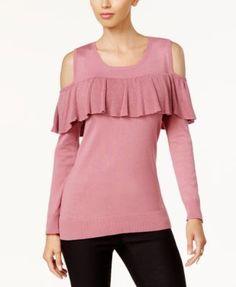 Thalia Sodi Ruffled Cold-Shoulder Sweater, Created for Macy's - Black XXL
