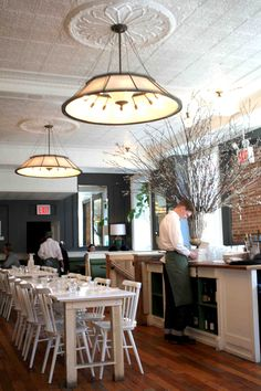 Check out the ceiling - could we use tale school??? Janelle McCulloch's Library of Design: Dining by Design: 10 Beautiful Brasserie Interiors