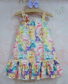 Vestido Infantil Malha Ursinhas Mon Sucré Baby Girl Frocks, Kids Frocks, Frocks For Girls, Toddler Girl Dresses, Little Girl Dresses, Baby Dress Design, Frock Design, Kids Dress Wear, Kids Wear