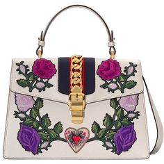 Gucci Medium Embroidered Sylvie Tote bag (€3.025) ❤ liked on Polyvore featuring bags, handbags, tote bags, white, white leather handbags, embroidered purse, gucci purse, flower purse and leather flower purse