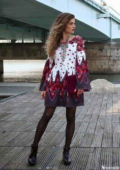 Red Long Sleeve Vintage Print Backless Dress - Sheinside.com